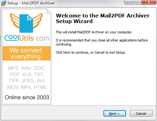 Mail2PDF Archiver